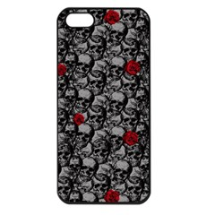 Skulls And Roses Pattern  Apple Iphone 5 Seamless Case (black) by Valentinaart