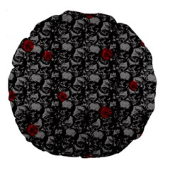 Skulls And Roses Pattern  Large 18  Premium Round Cushions by Valentinaart