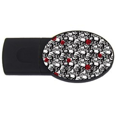 Skulls And Roses Pattern  Usb Flash Drive Oval (2 Gb) by Valentinaart