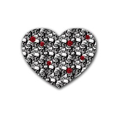 Skulls And Roses Pattern  Rubber Coaster (heart)  by Valentinaart