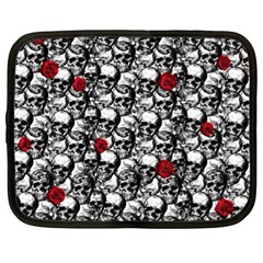 Skulls And Roses Pattern  Netbook Case (xl)  by Valentinaart