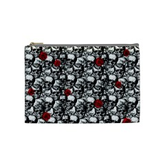 Skulls And Roses Pattern  Cosmetic Bag (medium)  by Valentinaart