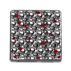 Skulls And Roses Pattern  Memory Card Reader (square) by Valentinaart