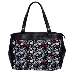 Skulls And Roses Pattern  Office Handbags by Valentinaart