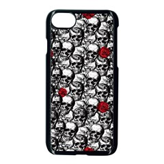 Skulls And Roses Pattern  Apple Iphone 7 Seamless Case (black)