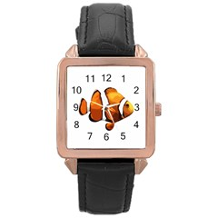 Clown Fish Rose Gold Leather Watch  by Valentinaart