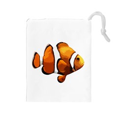 Clown Fish Drawstring Pouches (large)  by Valentinaart