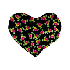 Candy Pattern Standard 16  Premium Flano Heart Shape Cushions by Valentinaart