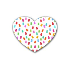 Candy Pattern Rubber Coaster (heart)  by Valentinaart