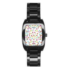 Candy Pattern Stainless Steel Barrel Watch