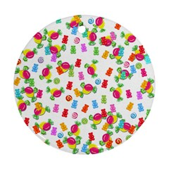 Candy Pattern Round Ornament (two Sides) by Valentinaart