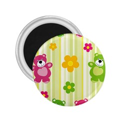 Animals Bear Flower Floral Line Red Green Pink Yellow Sunflower Star 2 25  Magnets by Mariart