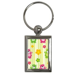 Animals Bear Flower Floral Line Red Green Pink Yellow Sunflower Star Key Chains (rectangle)  by Mariart