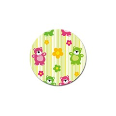 Animals Bear Flower Floral Line Red Green Pink Yellow Sunflower Star Golf Ball Marker by Mariart