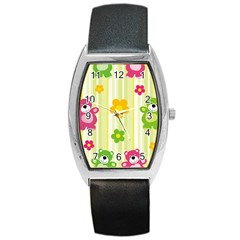 Animals Bear Flower Floral Line Red Green Pink Yellow Sunflower Star Barrel Style Metal Watch