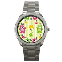 Animals Bear Flower Floral Line Red Green Pink Yellow Sunflower Star Sport Metal Watch by Mariart