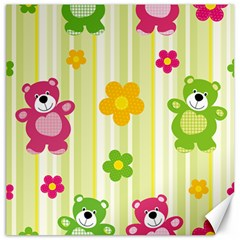 Animals Bear Flower Floral Line Red Green Pink Yellow Sunflower Star Canvas 16  X 16   by Mariart