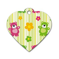Animals Bear Flower Floral Line Red Green Pink Yellow Sunflower Star Dog Tag Heart (two Sides) by Mariart