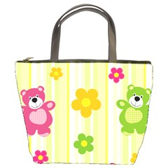 Animals Bear Flower Floral Line Red Green Pink Yellow Sunflower Star Bucket Bags by Mariart