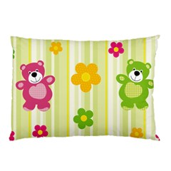 Animals Bear Flower Floral Line Red Green Pink Yellow Sunflower Star Pillow Case by Mariart