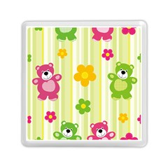 Animals Bear Flower Floral Line Red Green Pink Yellow Sunflower Star Memory Card Reader (square)  by Mariart