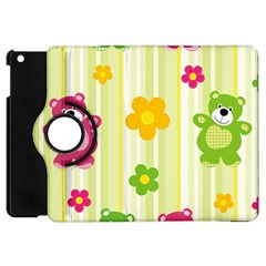 Animals Bear Flower Floral Line Red Green Pink Yellow Sunflower Star Apple Ipad Mini Flip 360 Case by Mariart