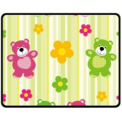 Animals Bear Flower Floral Line Red Green Pink Yellow Sunflower Star Double Sided Fleece Blanket (medium)