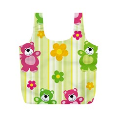Animals Bear Flower Floral Line Red Green Pink Yellow Sunflower Star Full Print Recycle Bags (m)  by Mariart