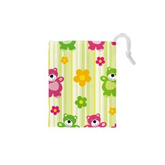 Animals Bear Flower Floral Line Red Green Pink Yellow Sunflower Star Drawstring Pouches (xs)  by Mariart