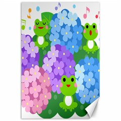 Animals Frog Face Mask Green Flower Floral Star Leaf Music Canvas 24  X 36  by Mariart