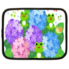 Animals Frog Face Mask Green Flower Floral Star Leaf Music Netbook Case (large) by Mariart