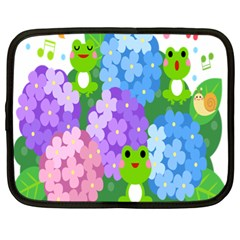Animals Frog Face Mask Green Flower Floral Star Leaf Music Netbook Case (xl)  by Mariart
