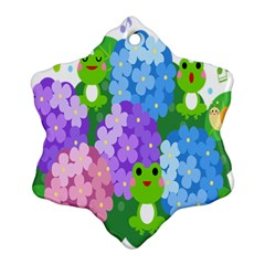 Animals Frog Face Mask Green Flower Floral Star Leaf Music Snowflake Ornament (two Sides) by Mariart