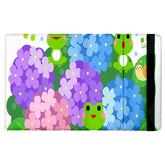 Animals Frog Face Mask Green Flower Floral Star Leaf Music Apple Ipad 3/4 Flip Case by Mariart