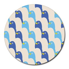 Animals Penguin Ice Blue White Cool Bird Round Mousepads by Mariart