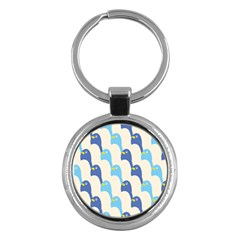 Animals Penguin Ice Blue White Cool Bird Key Chains (round)  by Mariart