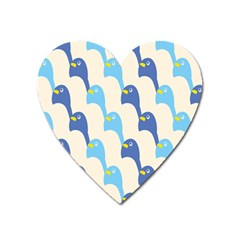 Animals Penguin Ice Blue White Cool Bird Heart Magnet by Mariart