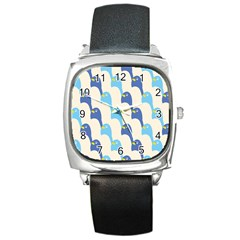 Animals Penguin Ice Blue White Cool Bird Square Metal Watch by Mariart