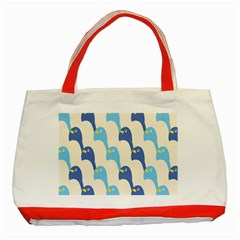 Animals Penguin Ice Blue White Cool Bird Classic Tote Bag (red) by Mariart