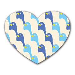 Animals Penguin Ice Blue White Cool Bird Heart Mousepads by Mariart