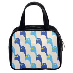 Animals Penguin Ice Blue White Cool Bird Classic Handbags (2 Sides) by Mariart