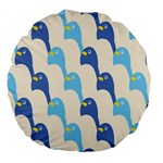 Animals Penguin Ice Blue White Cool Bird Large 18  Premium Round Cushions Front