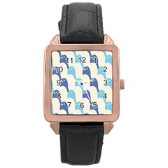 Animals Penguin Ice Blue White Cool Bird Rose Gold Leather Watch  by Mariart