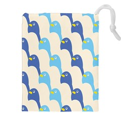 Animals Penguin Ice Blue White Cool Bird Drawstring Pouches (xxl) by Mariart