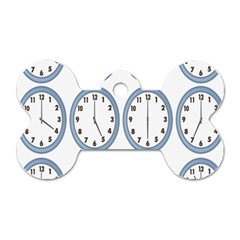 Alarm Clock Hour Circle Dog Tag Bone (two Sides) by Mariart