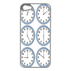 Alarm Clock Hour Circle Apple Iphone 5 Case (silver) by Mariart