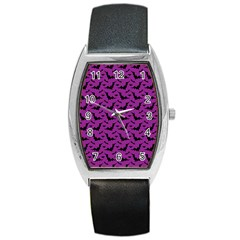 Animals Bad Black Purple Fly Barrel Style Metal Watch by Mariart