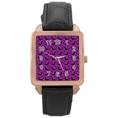 Animals Bad Black Purple Fly Rose Gold Leather Watch  by Mariart