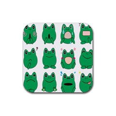 Animals Frog Green Face Mask Smile Cry Cute Rubber Square Coaster (4 Pack)  by Mariart