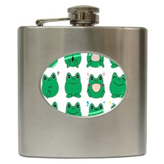 Animals Frog Green Face Mask Smile Cry Cute Hip Flask (6 Oz)